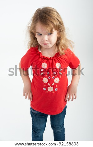 girl with blond hair posing - stock photo