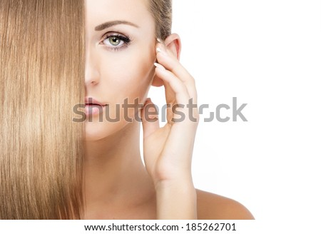 girl with blonde shining hair - stock photo