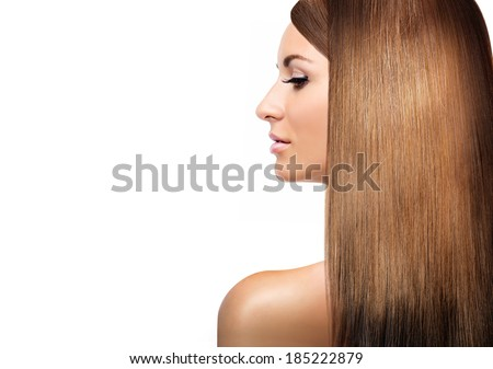 girl with blonde shining laminated hair - stock photo