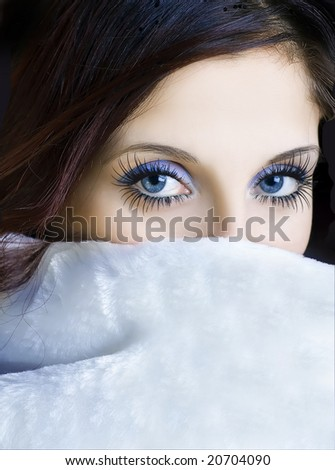 Girl with blue eyes - stock photo