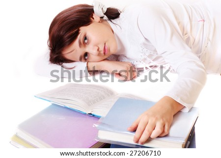 girl with book isolated on white