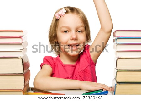 girl with book. isolated on white background - stock photo