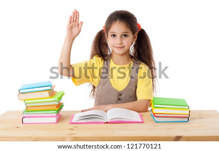 Girl with books and raises his hand up, isolated on white - stock photo