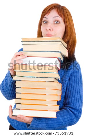 girl with books. Isolated on white background