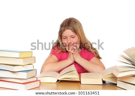 Girl with books learning - stock photo