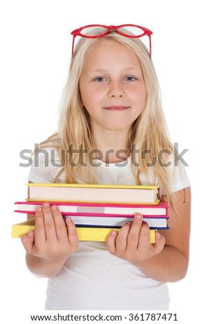 girl with books - schoolgirl - stock photo
