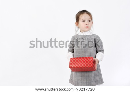 Girl with box - stock photo