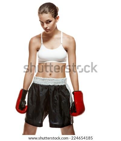 Girl with boxing gloves, mitt, mitten / portrait of healthy sport brunette girl on white background  - stock photo