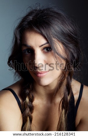 Girl with braids - stock photo