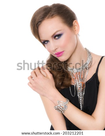 girl with bright make-up-and bracelet , Jewelry - stock photo