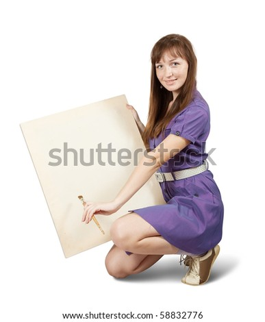 Girl with brush  and blank white canvas. Isolated over white - stock photo