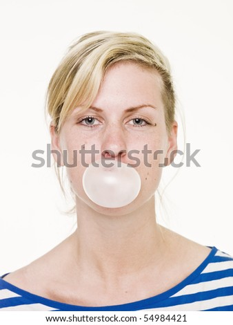 Girl with Bubble Gum isolated on white background