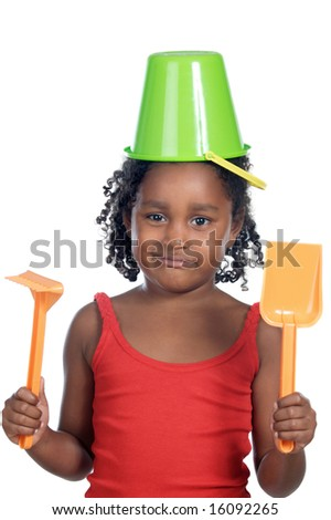 Girl with bucket in her head a over white background - stock photo