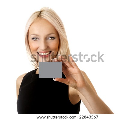 Girl with businesscard - stock photo