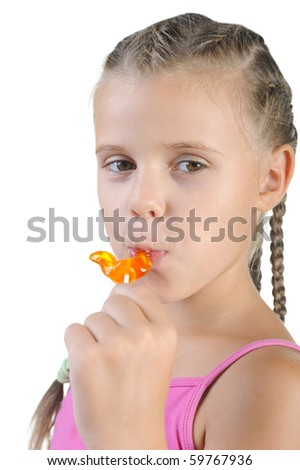 girl with candy. Isolated on white background