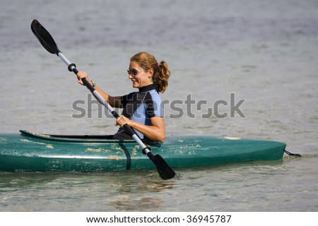 Girl with canoe
