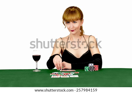 girl with card for game table in casino