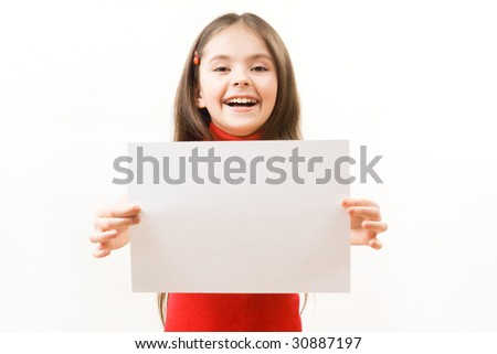 Girl with card for text - stock photo