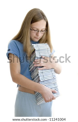 girl with cd collection