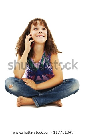 Girl with cell phone, looking up. Isolated on white background. - stock photo