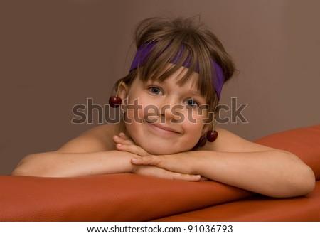 Girl with cherry - stock photo