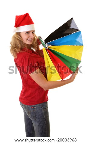 Girl with christmas shopping bags