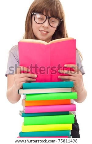 girl with colored books reading, isolated on white