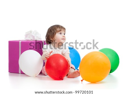 girl  with colorful balloons and gift. Isolated on white. - stock photo