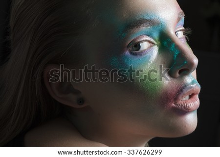 girl with colorful face
