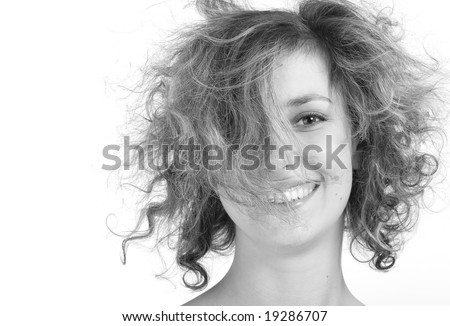 Girl with crazy hair isolated on a white background - stock photo