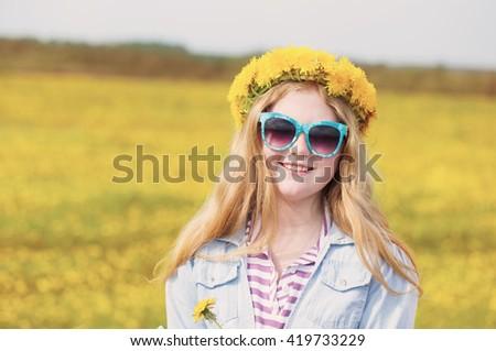 girl with dandelions - stock photo