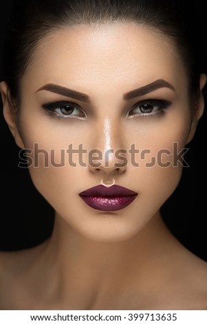 Girl with dark lips