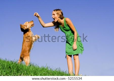 girl with dog - stock photo