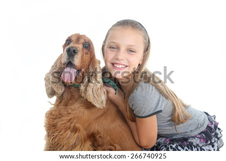 girl with dog on a white background