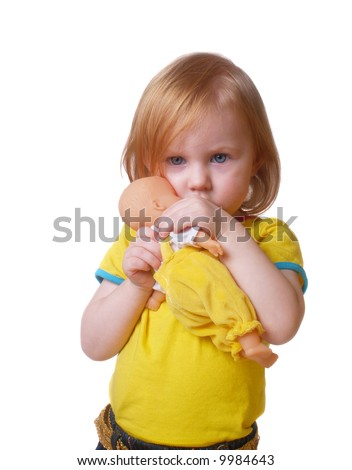 girl with doll  isolated on white - stock photo