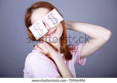 Girl with dollars symbol on eyes.