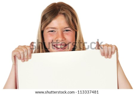 Girl with drawing paper - stock photo