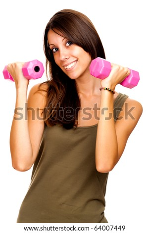 Girl with dumbbell, isolated on white