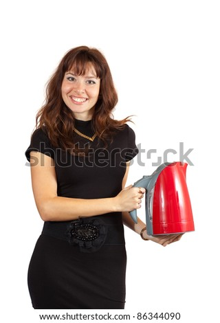 Girl with electric tea kettle over white