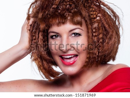 girl with fancy haircut with white background closeup - stock photo