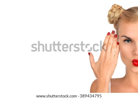 Girl with fashion hairstyle. Blonde girl with red lipstick and red nails - stock photo