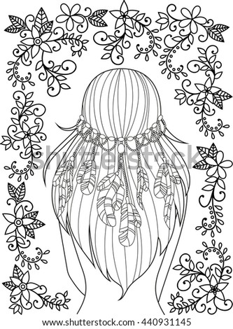 Girl with feathers in her hair and floral pattern, hippie style, line art. Pattern for coloring book for adults. - stock photo