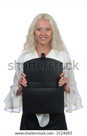 girl with file - stock photo