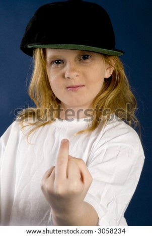 girl with finger up - stock photo
