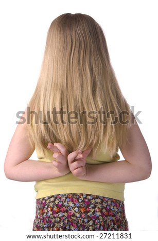 Girl With Fingers Crossed Behind Back Isolated on a White Background - stock photo