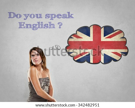 Girl with flag say Do you speak English