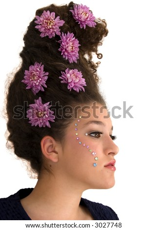 Girl with flower hairdo and rhinestone makeup