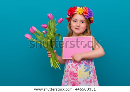 girl with flowers and copyspace advertising - stock photo