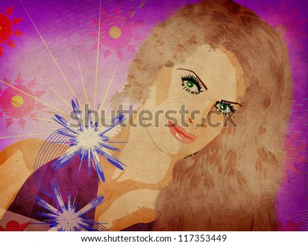 Girl with flowers on grunge background - stock photo