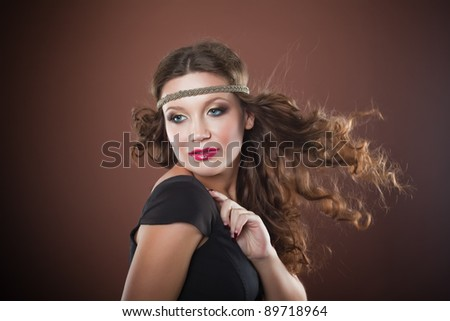 Girl with flying hair - stock photo